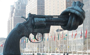 Gun sculpture at United Nations building