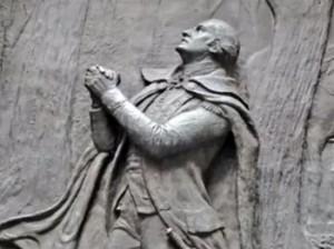 George Washington praying, in bas relief